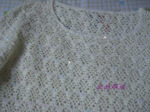 精5米白欧编蕾丝衫|编织博客-编织人生