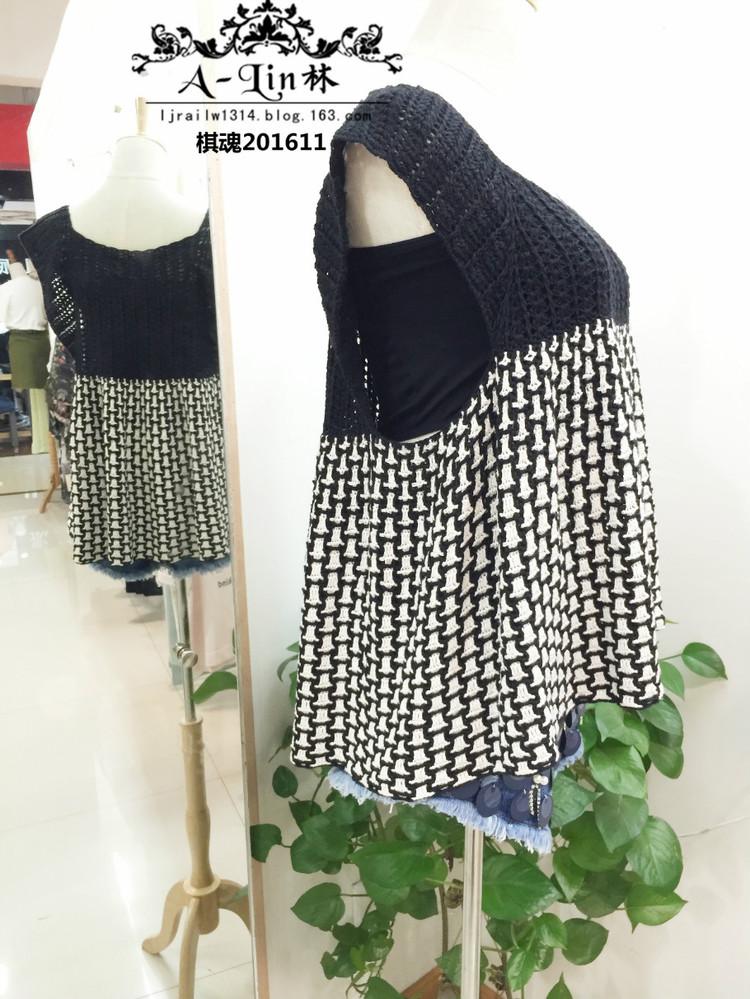 【a-lin林】棋魂--黑白钩针提花感超大牌裙式上衣201611|编织博客