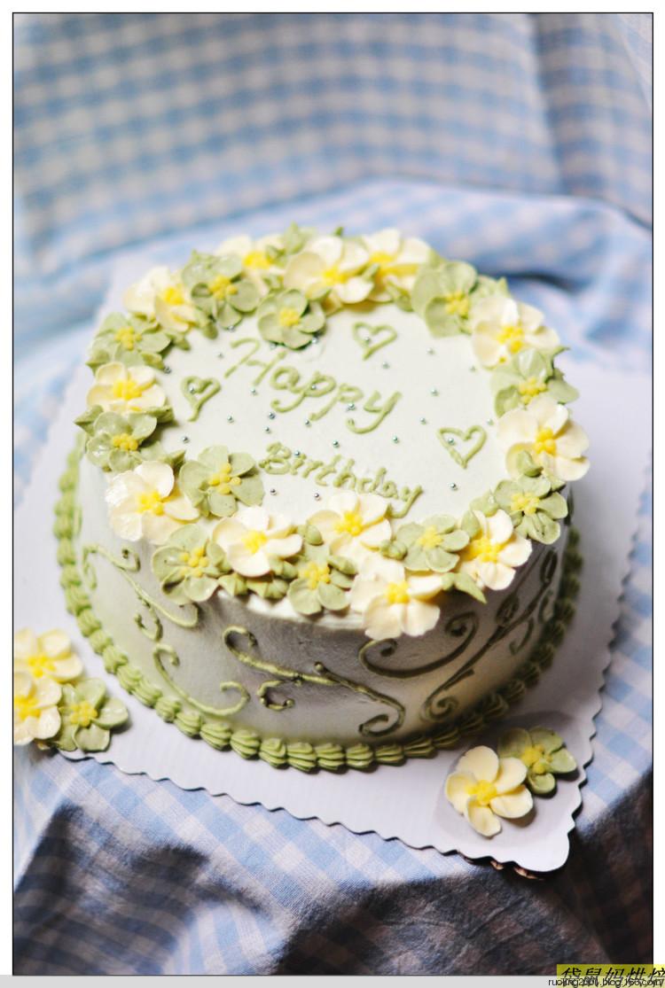 抹茶海绵奶油生日蛋糕-----夏日小清新|编织博客